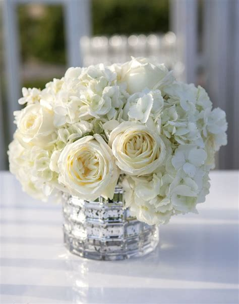 Ivory Rose And Hydrangea Low Centerpieces Like With No