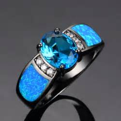 engagement rings with opal sapphire jewelry wedding blue opal rings 14kt black gold filled fashion engagement
