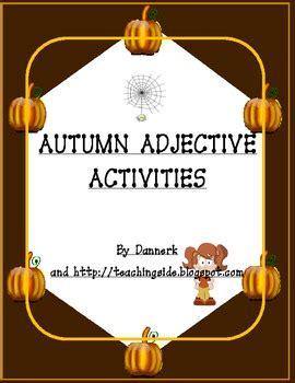 Autumn Adjectives Worksheets Activities (halloween And