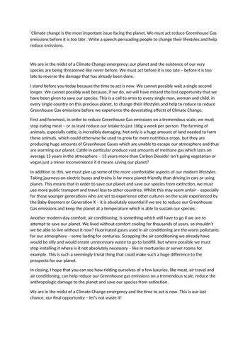 aqa gcse language paper   exemplar response climate change speech teaching resources