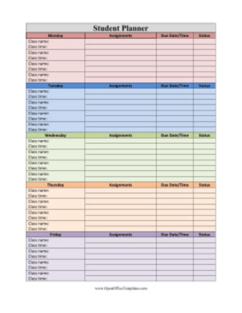 student planner template student planner