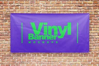 Mockups Banner Vinyl Flag Advertising Psd Signs
