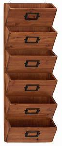 Brown wood 6 bin letter holder office family wall for Letter bin organizer wall