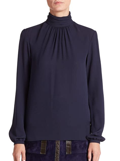 turtleneck blouse derek lam silk turtleneck blouse in blue lyst