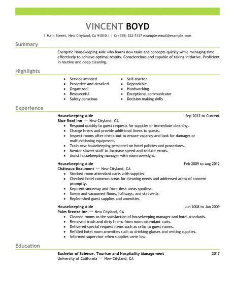 sle cover letter housekeeping resume sle