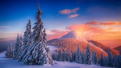 Snow Mountains 4k Winter Snowy Sunset Landscape
