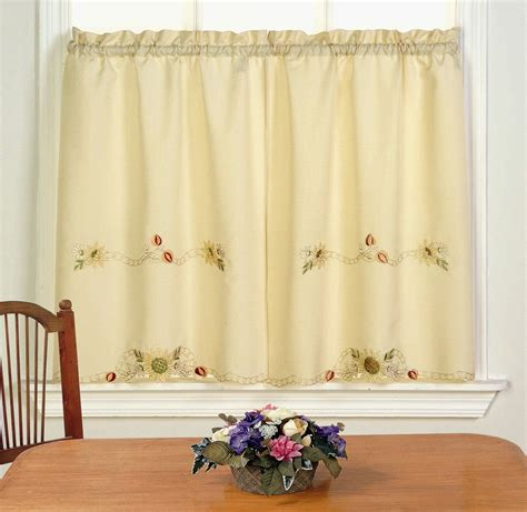traditional elegance embroidered sunflower kitchen curtain