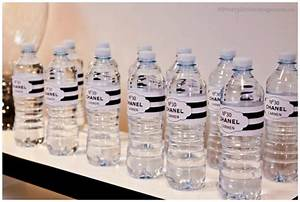 chanel inspired 30th birthday party With chanel water bottle labels