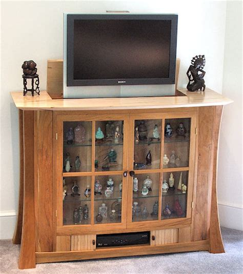 sycamore tv lift showcase with tv lift and jewelry storage