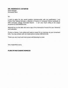 Application Letter Sample Tagalog Version