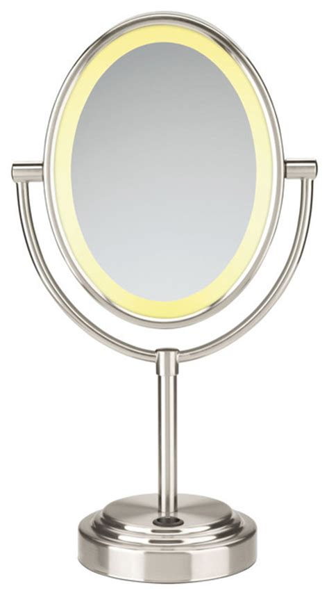 conair lighted mirror conair sided lighted oval mirror satin nickel