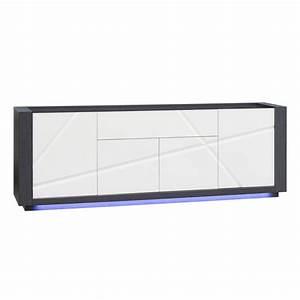 Enfilade Blanc Laqué : enfilade 4 portes 1 tiroir avec leds coloris blanc laqu et gris maison et styles ~ Teatrodelosmanantiales.com Idées de Décoration
