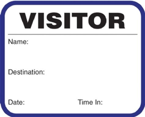 Visitor Pass Template by Visitor Pass On A Roll