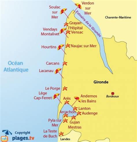 Carte De Plage Atlantique by Bordeaux Plage La Carte Carte De Bordeaux