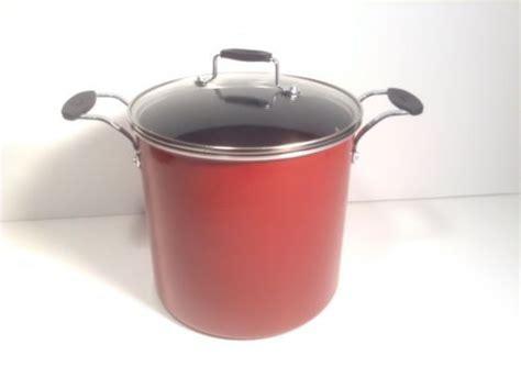 emeril essentials  qt stock pot nonstick cookware red  lid  retail box  nonstick