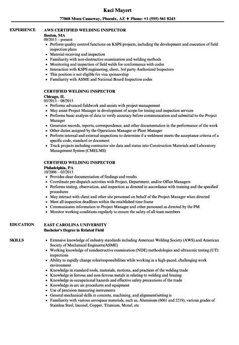 welding inspector resume resume and cover letter
