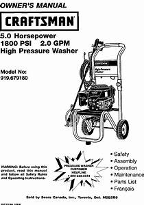 Craftsman 919679180 User Manual 2400 Psi High Pressure
