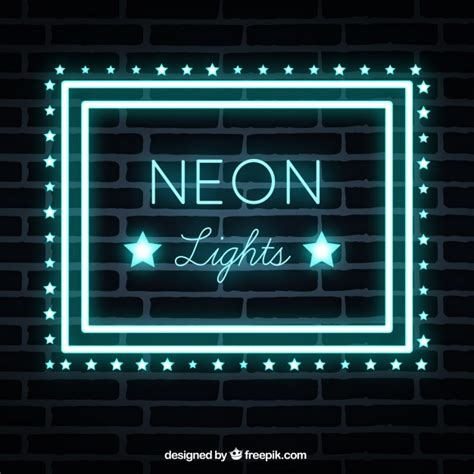 brick wall background with neon lights sign vector free