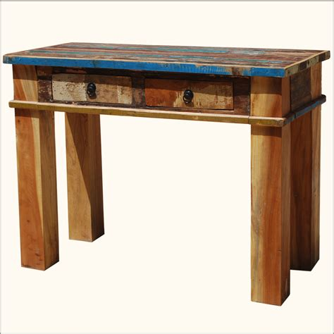 rustic wood entry table rustic distressed reclaimed wood console hall sofa