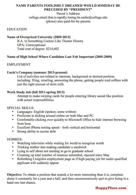 resume for recent college grad