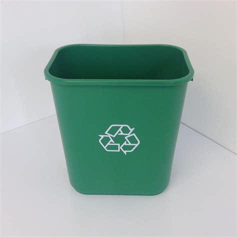 metal office desk green plastic recycling bin wastebasket prestige office
