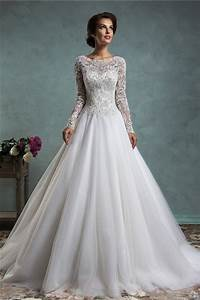 a line wedding dresses with lace sleeves great ideas for With a line lace wedding dress with sleeves