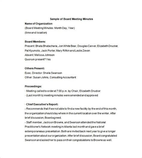 Corporate Board Meeting Minutes Template by Board Of Directors Meeting Minutes Template 9 Free