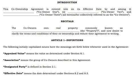 Sample Property Co-ownership Agreement For Two Parties Who