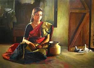 25 Beautiful South Indian women Paintings by Elayaraja ...