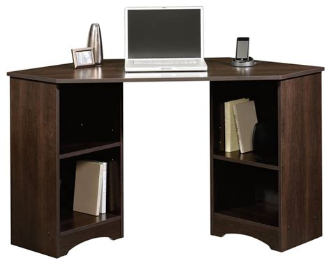 sauder harbor view corner computer desk curado cherry finish sauder beginnings corner desk in cinnamon cherry finish