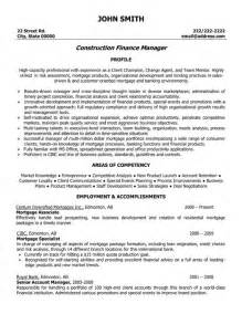 resume of accountant in construction company construction finance manager resume template premium resume sles exle