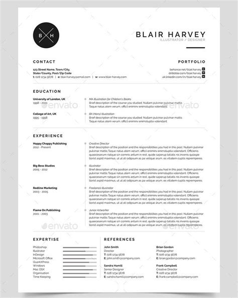 photoshop resume template 25 best simple photoshop indesign resume templates web graphic design bashooka