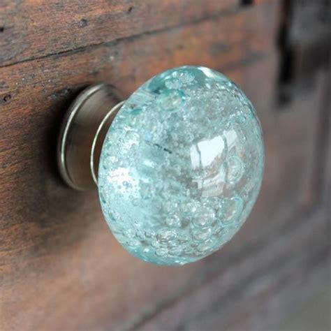 glass drawer knob  bubbles  light blue