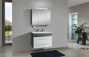 Badezimmer Set Günstig : 2tlg badezimmer set hochglanz wei grau 80cm genf ~ Watch28wear.com Haus und Dekorationen