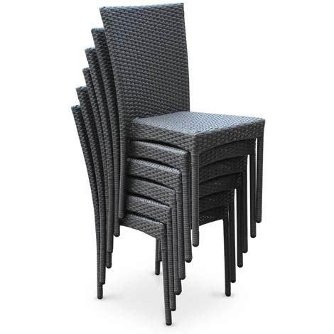 chaise en résine tressée salon de jardin en résine tressée 6 chaises gris table d