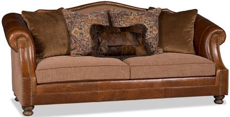leather and herringbone western style sofa