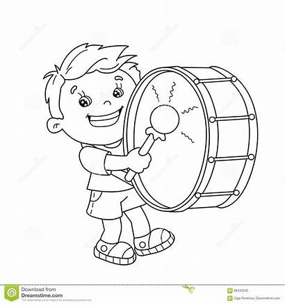 Playing Drum Coloring Outline Cartoon Boy Instruments