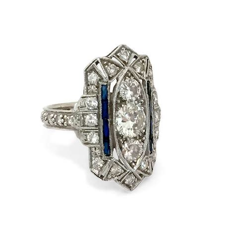 deco sapphire gold platinum cocktail ring at 1stdibs