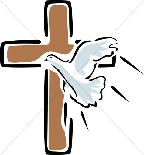 outlined cross  flying dove cross clipart