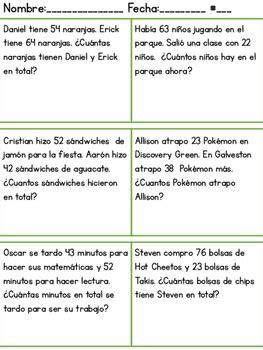 spanish math word problems  bilingual rockstar teacher tpt