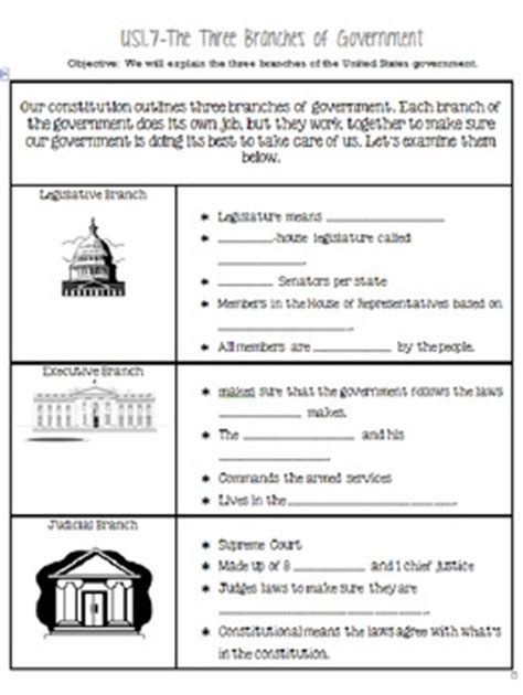 the three branches of government worksheet worksheets for