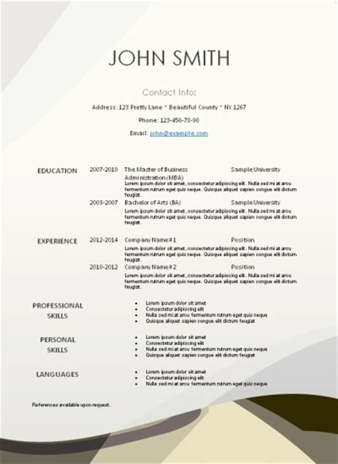 stand out resume templates word free printable resume templates