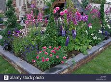 Colourful Planting In A Raised Flower Bed Of A Patio