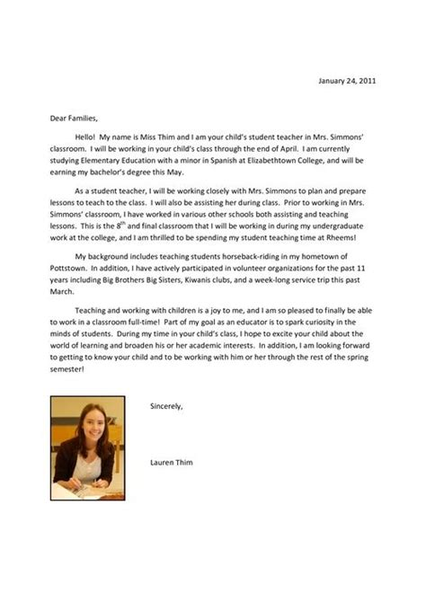 perfect   intro letter  parents  student