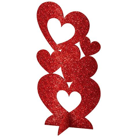 Amscan 11.5 in. Valentine's Day Red MDF Glitter Hearts 3D ...