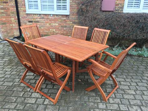 teak garden furniture table chairs carvers
