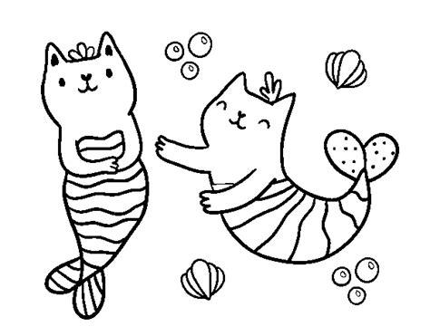 disegni di sirene da colorare disegno di gatti sirena da colorare acolore