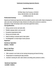 Apprentice Hairdresser Resume Sle by Cosmetology Resume 5 Free Word Pdf Documents