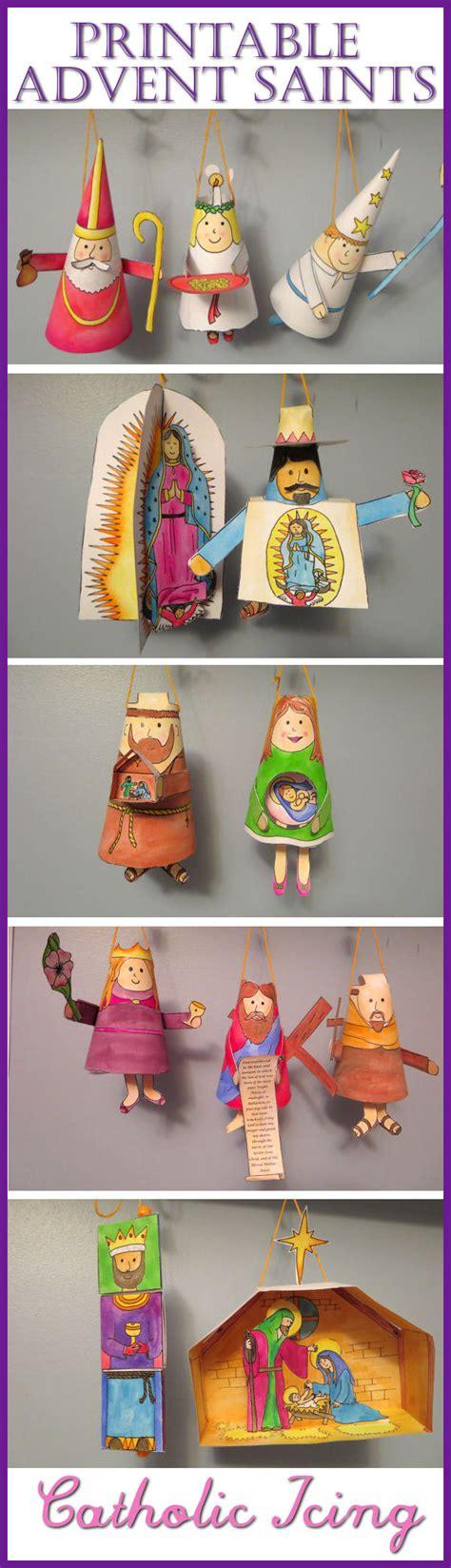 advent saints craft printable ornaments for catholic kids