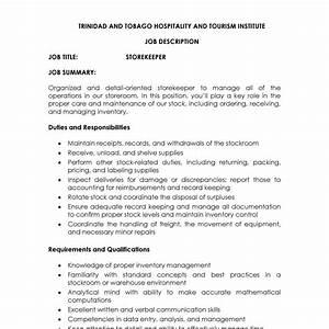 Job Description Storekeeper A Doc